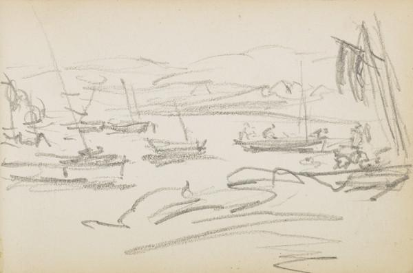Sketch of boats in a bay (About 1883)