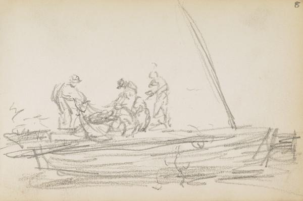 Sketch of herring fishermen (About 1883)