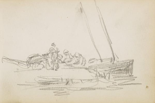 Sketch of figures and boats (About 1883)