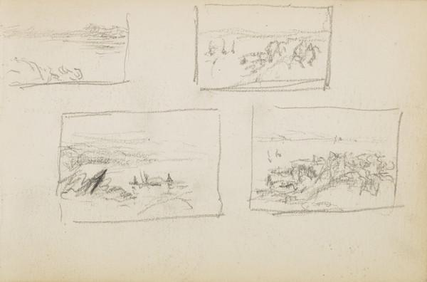 Several sketches of sea, rocks and boats (About 1883)