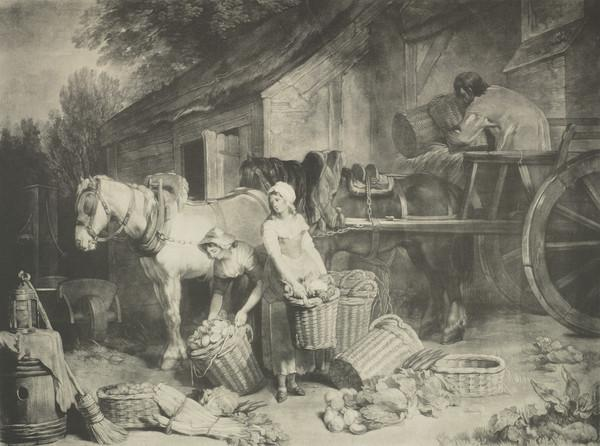 Scene outside a cottage: two women holding baskets of vegetables, and a man on a two-horse drawn carriage