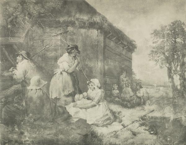 Field workers resting outside a cottage