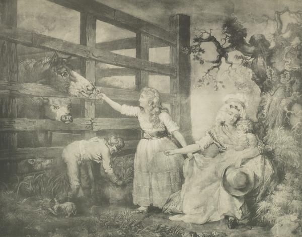 Young girl feeding a horse through a wooden fence, woman with child on her lap and a hat in her hand,