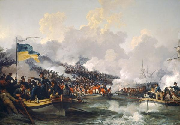 The landing of British troops at Aboukir, 8 March 1801 (1802)