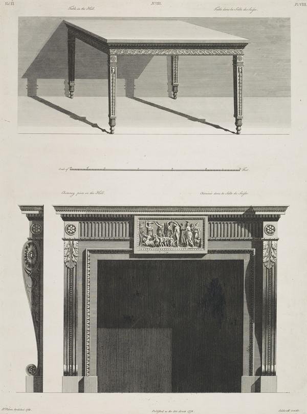 Designs for a Table and a Chimney (Dated 1778)