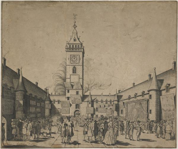 Exhibition of the Foulis Academy's Paintings in the Inner Court of the University of Glasgow (c 1753)