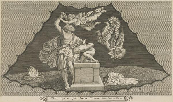Sacrifice of Abraham, with an angel stopping him, and on the right another bringing a lamb (1718)