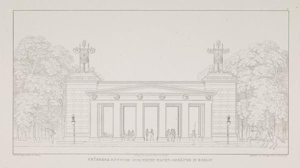 Preliminary elevation for the new guardhouse (Plate 1 of  'Neue Wache' from 'Sammlung Architektonischer Entwürfe) (1817-1818)