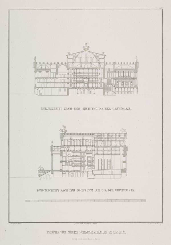 Sections (Plate 10 of  'Schauspielhaus' from 'Sammlung Architektonischer Entwürfe) (1819-1821)