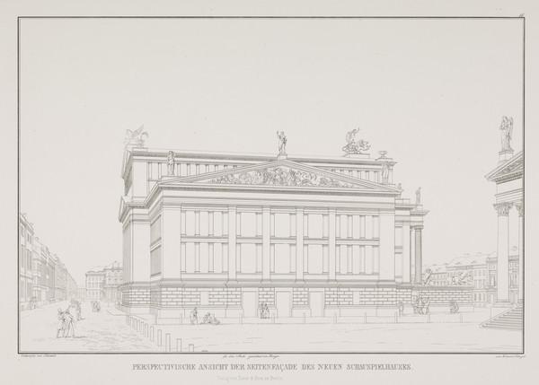 Perspective view of the side facade (Plate 11 of  'Schauspielhaus' from 'Sammlung Architektonischer Entwürfe) (1819-1821)