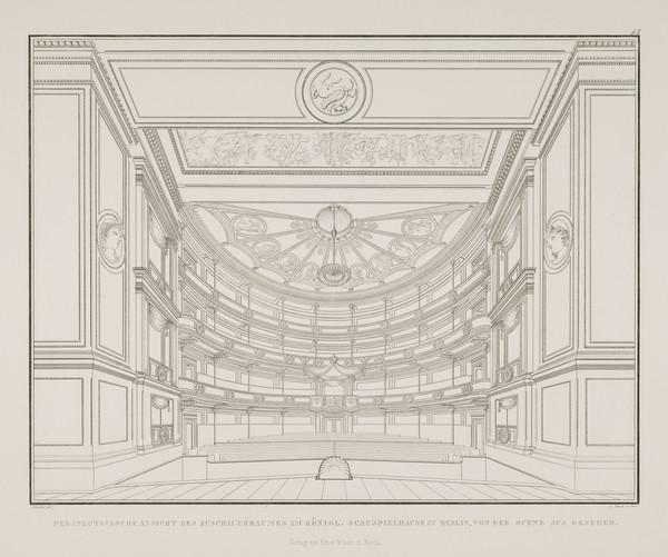 A view in perspective of the auditorium seen from the stage (Plate 13  of  'Schauspielhaus' from 'Sammlung Architektonischer Entwürfe) (1819-1821)