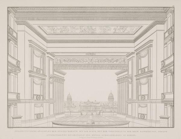 A view in perspective of the stage (Plate 14 of  'Schauspielhaus' from 'Sammlung Architektonischer Entwürfe) (1819-1821)
