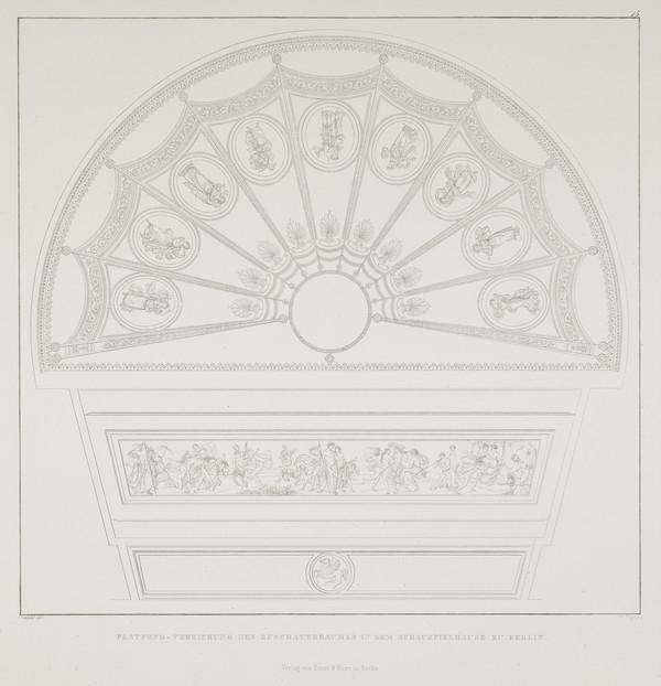 Ornamentation of the ceiling of the auditorium (Plate 15 of  'Schauspielhaus' from 'Sammlung Architektonischer Entwürfe) (1819-1821)