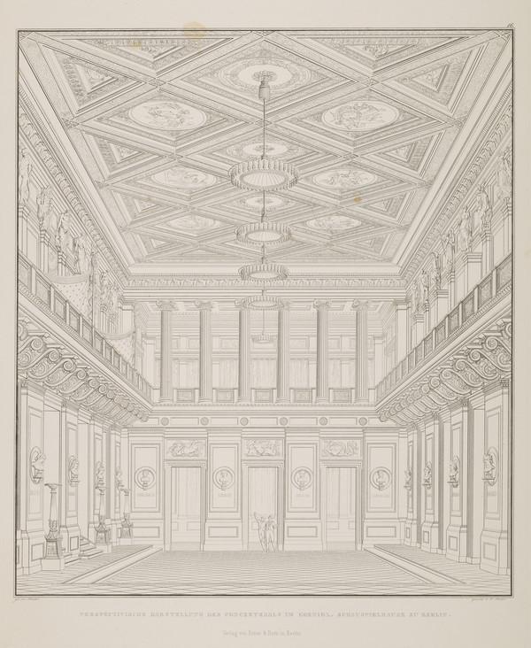 A view in perspective of the concert hall (Plate 16 of  'Schauspielhaus' from 'Sammlung Architektonischer Entwürfe) (1819-1821)