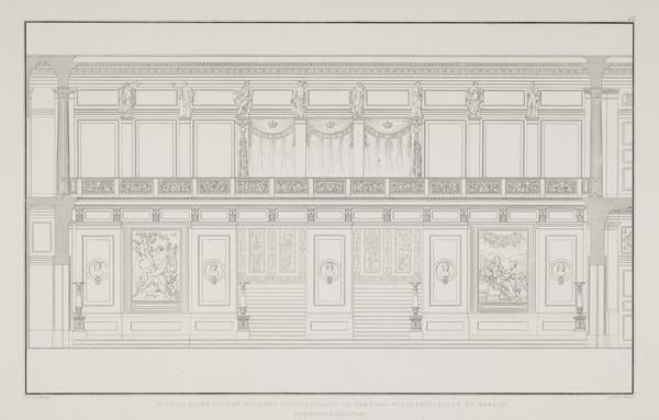 One long wall of the concert hall  (Plate 17 of  'Schauspielhaus' from 'Sammlung Architektonischer Entwürfe) (1819-1821)