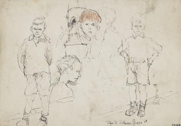 Five Studies of Children, Taylor Street, Rottenrow, Glasgow [verso: Woman's Head]