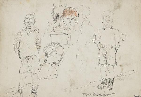 Five Studies of Children, Taylor Street, Rottenrow, Glasgow [verso: Woman's Head]