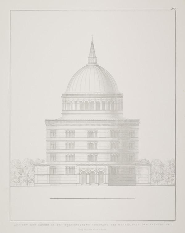 Elevation - design 4 (Plate 100 of  'Church for Oranienburg' from Sammlung Architektonischer Entwürfe (1828)