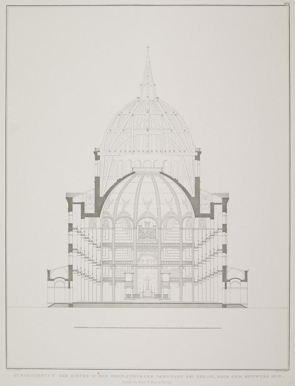 Section - design 4 (Plate 101 of  'Church for Oranienburg' from Sammlung Architektonischer Entwürfe (1828)
