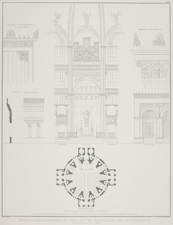 Exterior and interior details; Plan- design 4 (Plate 102 of  'Church for Oranienburg' from Sammlung Architektonischer Entwürfe (1828)