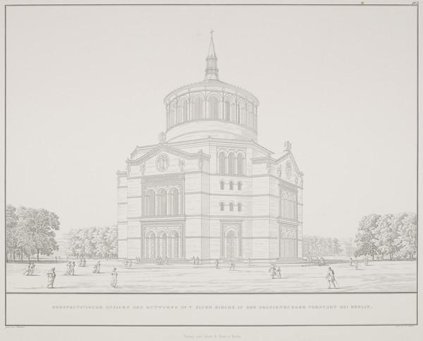 Perspective view - design 5 (Plate 103 of  'Church for Oranienburg' from Sammlung Architektonischer Entwürfe (1828)