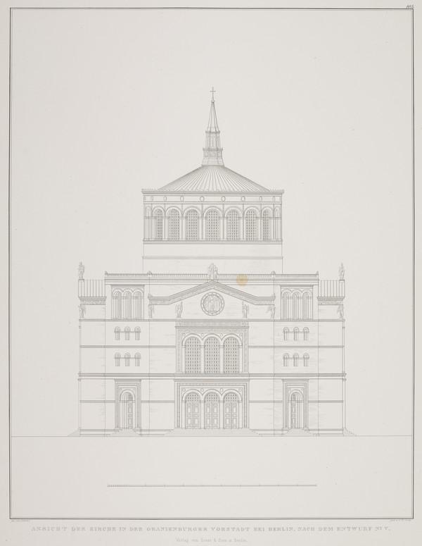 Elevation - design 5 (Plate 104 of  'Church for Oranienburg' from Sammlung Architektonischer Entwürfe (1828)