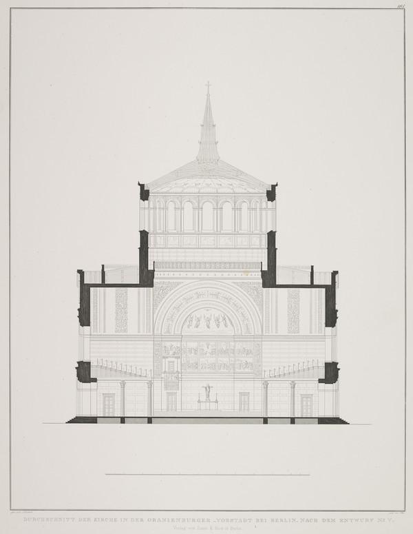 Section - design 5 (Plate 105 of  'Church for Oranienburg' from Sammlung Architektonischer Entwürfe (1828)