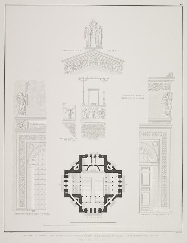 Exterior and interior details; Plan - design 5 (Plate 106 of  'Church for Oranienburg' from Sammlung Architektonischer Entwürfe (1828)