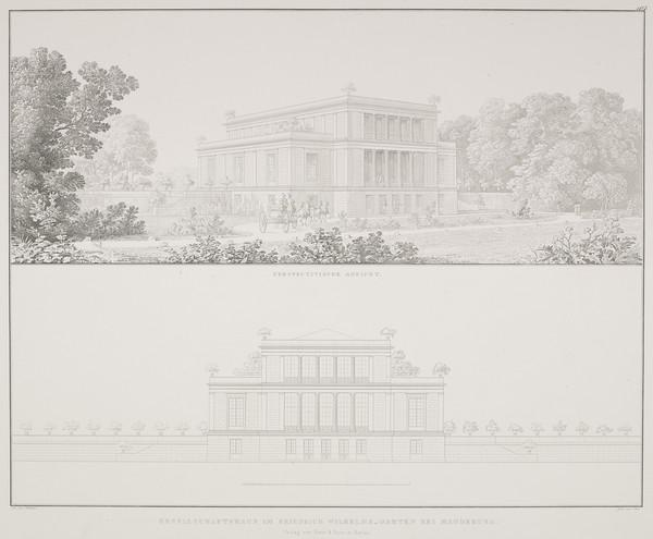 Perspective view; Elevation (Plate 107 of  'Gesellschafthaus' from Sammlung Architektonischer Entwürfe (1825-1829)