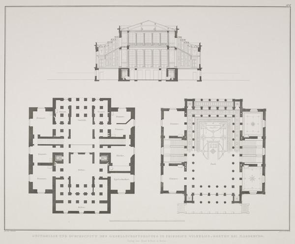 Section; Plans (Plate 108 of  'Gesellschafthaus' from Sammlung Architektonischer Entwürfe (1825-1829)