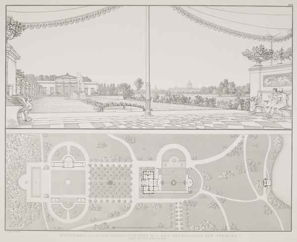 Perspective view; Plan (Plate 109 of  'Schlo? Charlottenhof' from Sammlung Architektonischer Entwürfe) (1826)