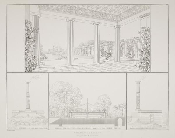 Perspective view; Exedra; Steam engine house (Plate 110 of  'Schlo? Charlottenhof' from Sammlung Architektonischer Entwürfe) (1826)