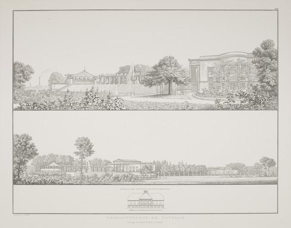 Perspective views (Plate 111 of  'Schlo? Charlottenhof' from Sammlung Architektonischer Entwürfe) (1826)