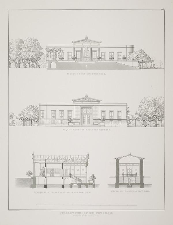Elevations; sections (Plate 112 of  'Schlo? Charlottenhof' from Sammlung Architektonischer Entwürfe) (1826)
