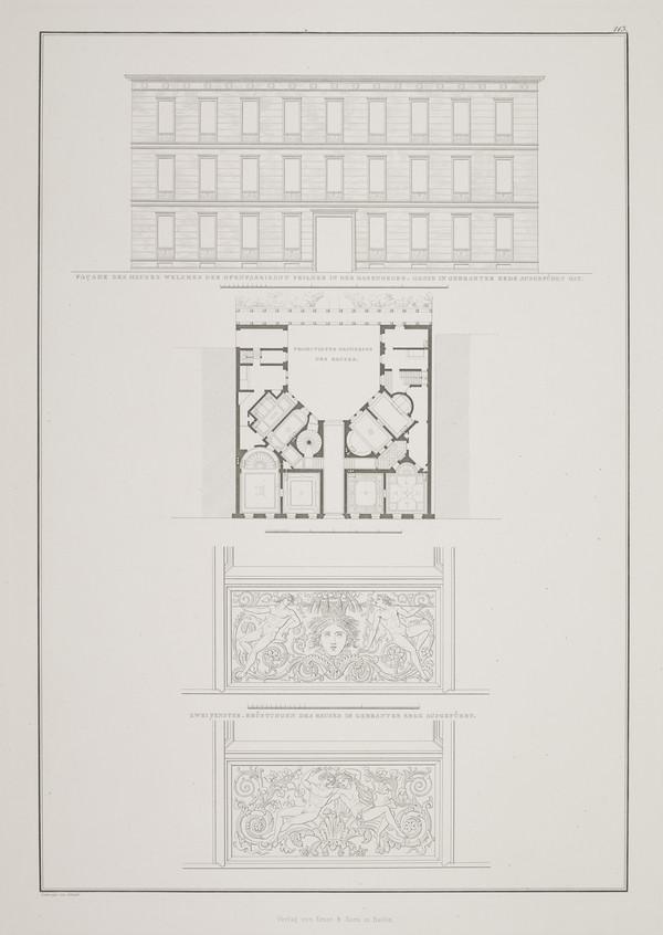 Elevation; Plan; Details (Plate 113 of  'Feilner house' from Sammlung Architektonischer Entwürfe (1828-1829)