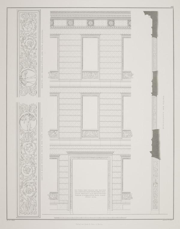 Elevation details (Plate 114 of  'Feilner house' from Sammlung Architektonischer Entwürfe (1828-1829)