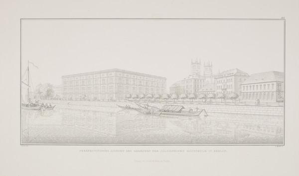 Perspective view  (Plate 115 of  'Bauakademie' from Sammlung Architektonischer Entwürfe (1831-1836)