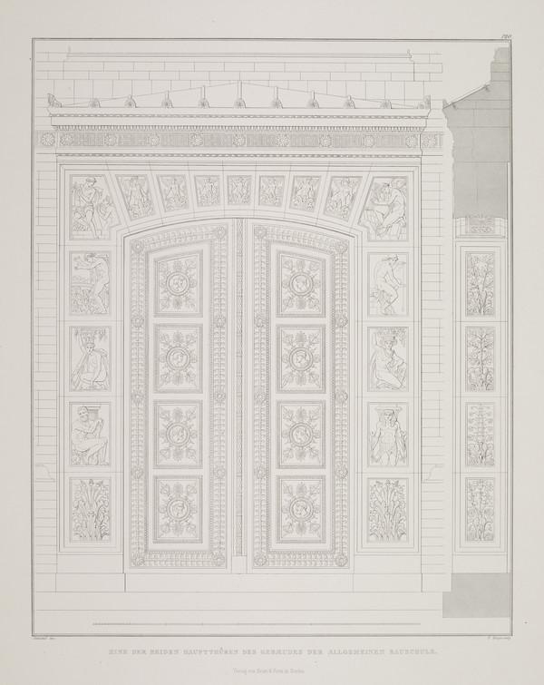 Entrance details (Plate 120 of  'Bauakademie' from Sammlung Architektonischer Entwürfe (1831-1836)