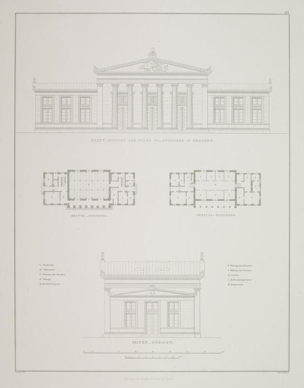 Elevations; Plans (Plate 123 of  'Hauptwache' from Sammlung Architektonischer Entwürfe (1831-1833)