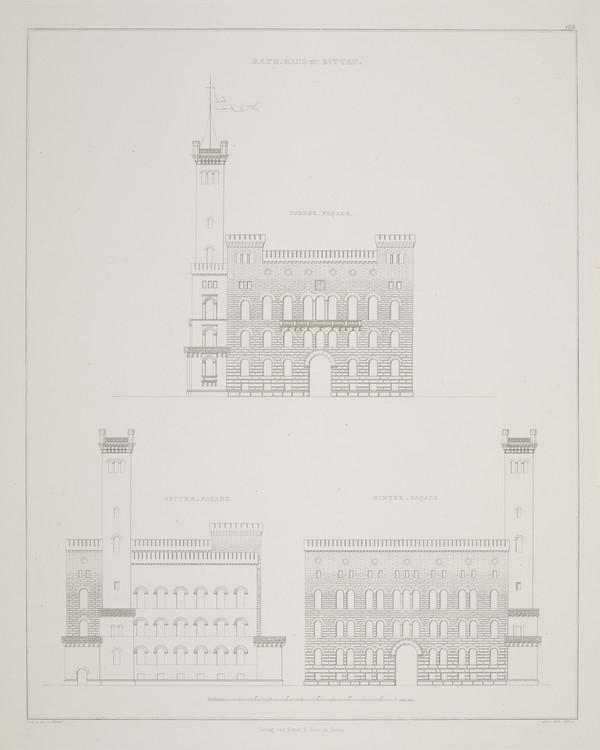 Elevations (Plate 124 of  'Town Hall' from Sammlung Architektonischer Entwürfe (1840-1845)