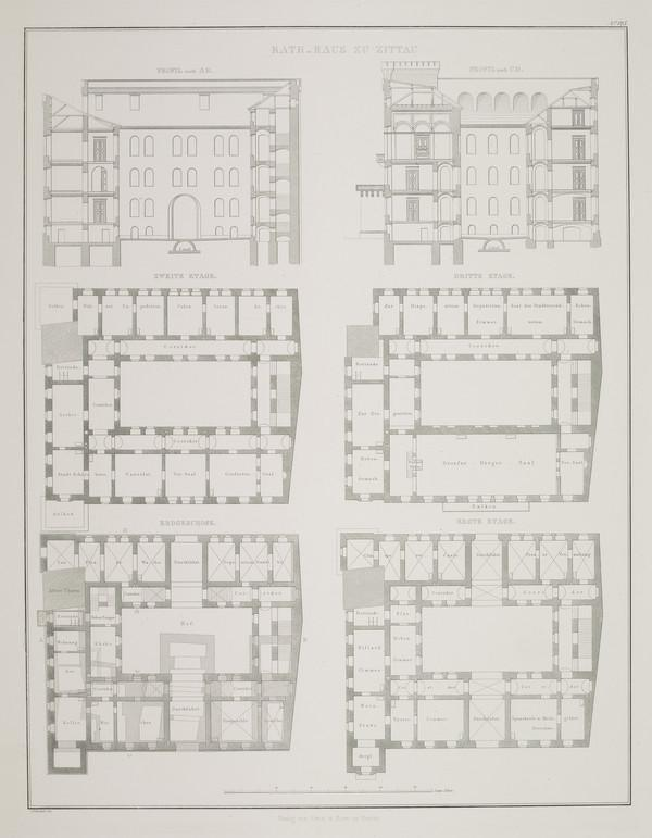 Sections; Plans (Plate 125 of  'Town Hall' from Sammlung Architektonischer Entwürfe (1840-1845)