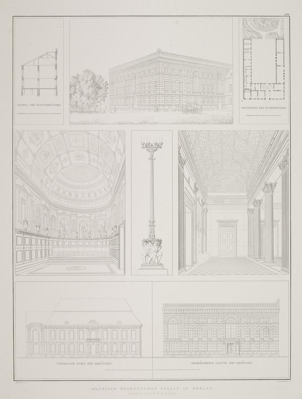 Exterior and interior views; (Plate 126 of  'Palais Redern' from Sammlung Architektonischer Entwürfe (1829-1833)
