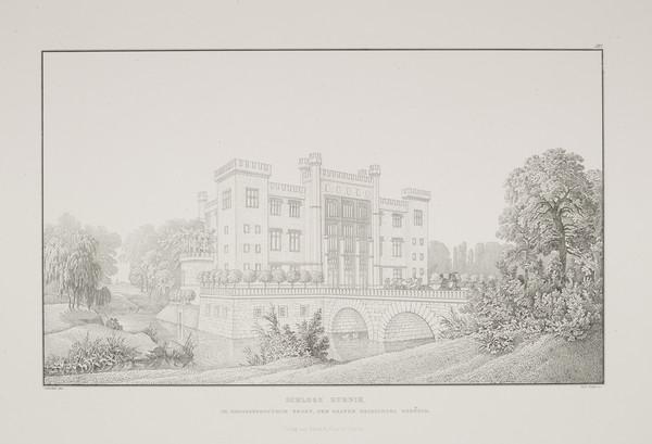 Perspective view (Plate 127 of  'Castle Kurnik' from Sammlung Architektonischer Entwürfe (1828-1834)