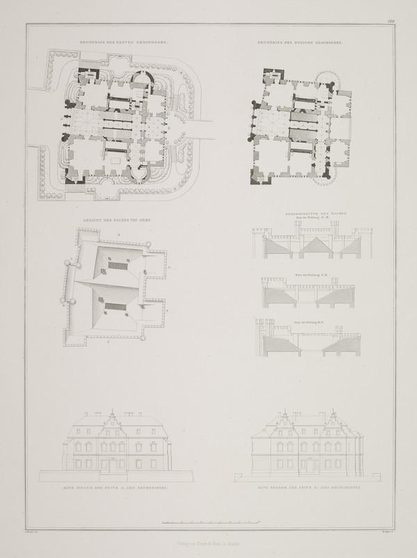 Plans; Elevations (Plate 128 of  'Castle Kurnik' from Sammlung Architektonischer Entwürfe (1828-1834)