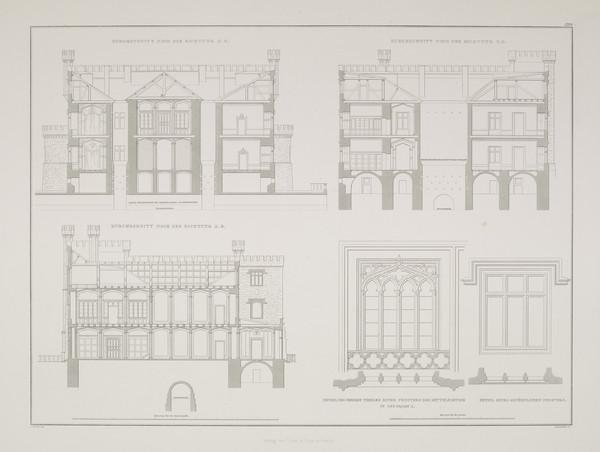Sections; Elevation details (Plate 129 of  'Castle Kurnik' from Sammlung Architektonischer Entwürfe (1828-1834)