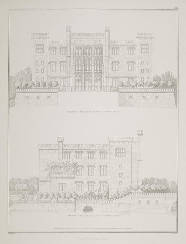 Plate 130 of  'Castle Kurnik' from Sammlung Architektonischer Entwürfe (1828-1834)