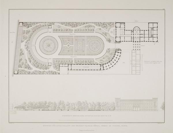 Plan; Elevation - design 1 (Plate 131 of  'Prince Wilhelm Palais' from Sammlung Architektonischer Entwürfe (1829)