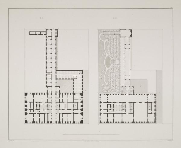 Plans - design 2 (Plate 133 of  'Prince Wilhelm Palais' from Sammlung Architektonischer Entwürfe (1829)