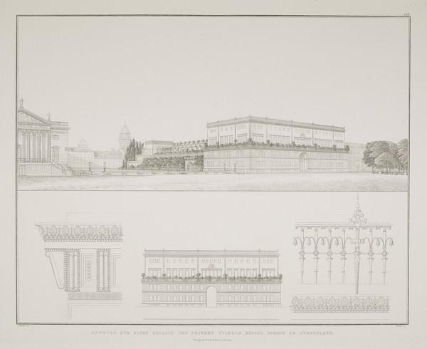 Perspective view; Elevation; Details - design 2 (Plate 134 of  'Prince Wilhelm Palais' from Sammlung Architektonischer Entwürfe (1829)