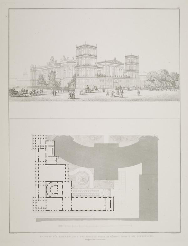 Perspective view; Plan; - design 3 (Plate 135 of  'Prince Wilhelm Palais' from Sammlung Architektonischer Entwürfe (1829)